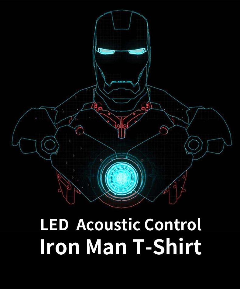 Camiseta de manga corta con Control acústico de luz electroluminiscente LED Iron Man, camiseta activada por sonido para fiesta